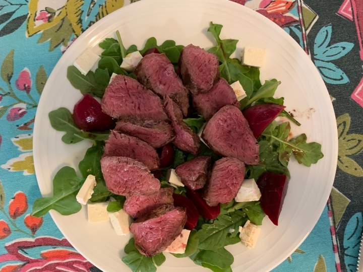 Kangaroo fillets with beetroot salad
