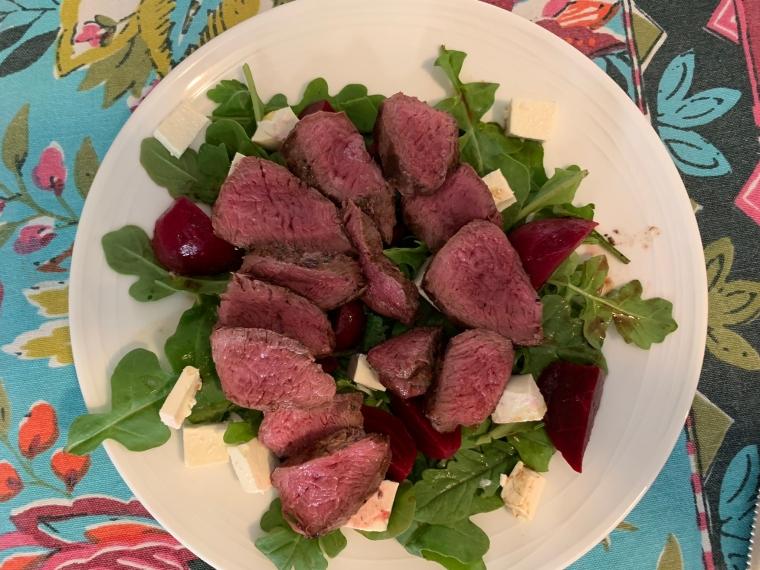 Kangaroo fillets with beetroot salad