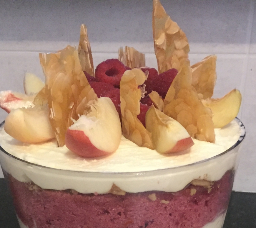 Raspberry White Chocolate Peach Melba Trifle